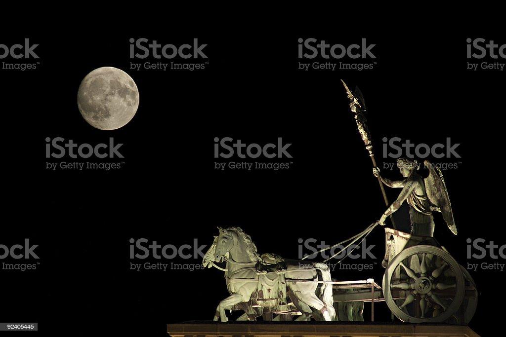 Berlin Quadriga And Moon royalty-free stock photo