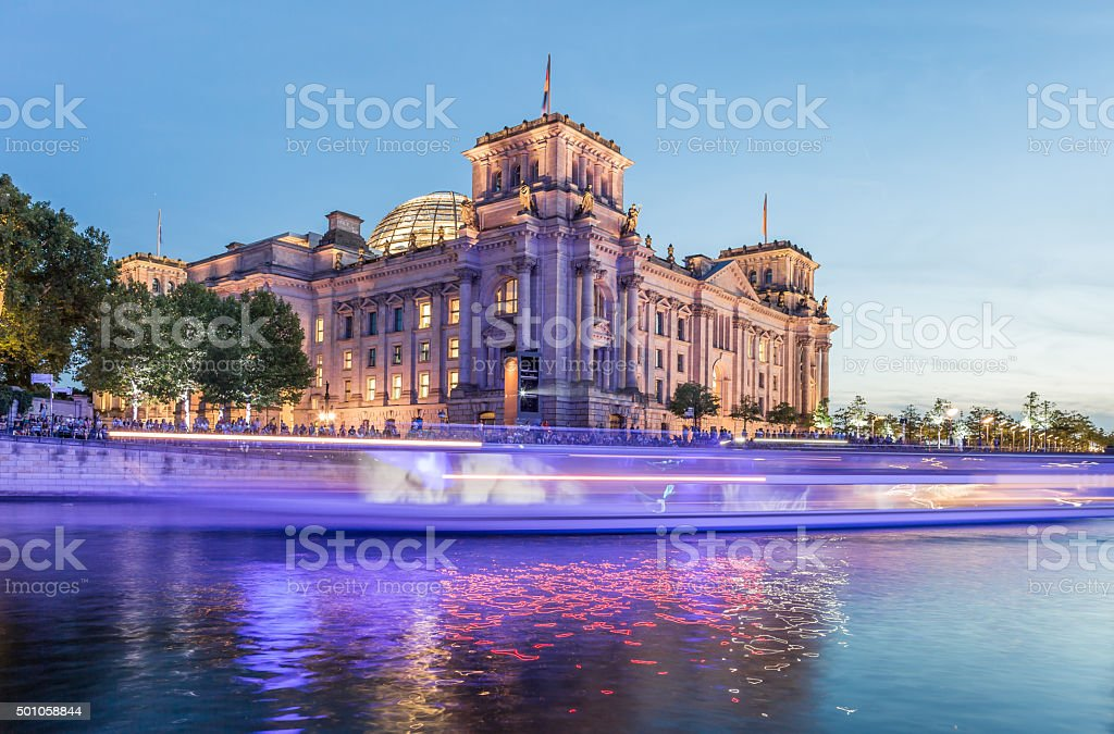 Berlin Reichstag and Spree river stock photo
