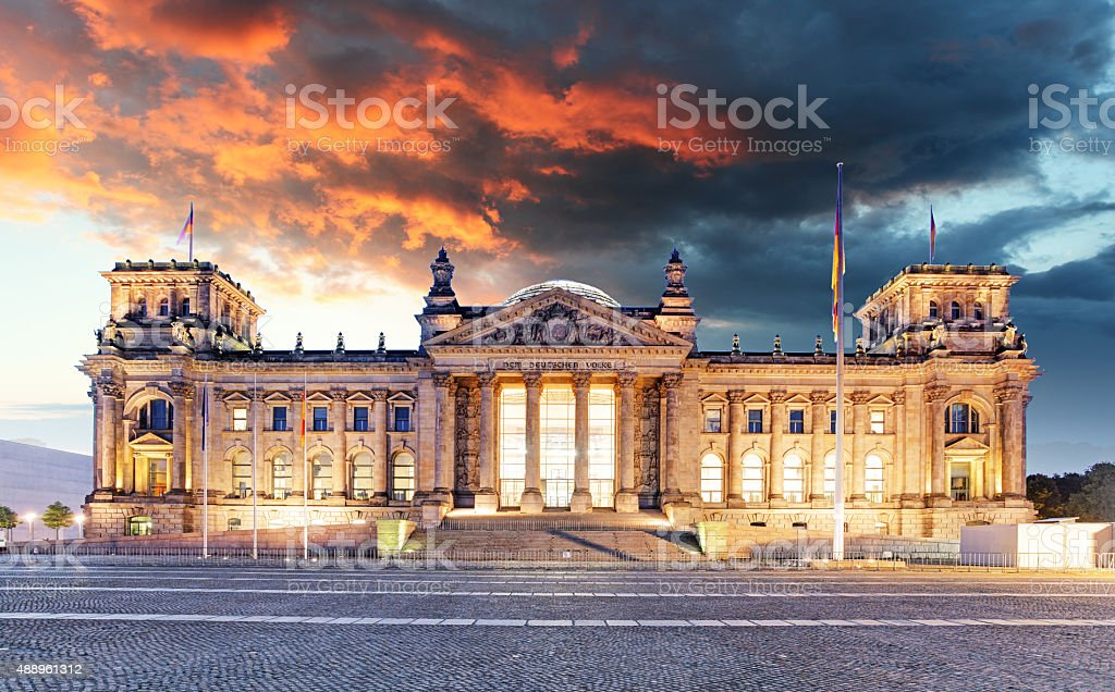Berlin - Reichstag and sunrise, Germany stock photo