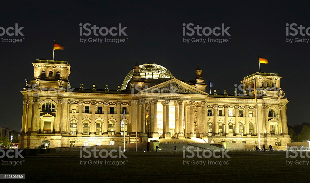 Berlin Reichstag Building At Night stock photo