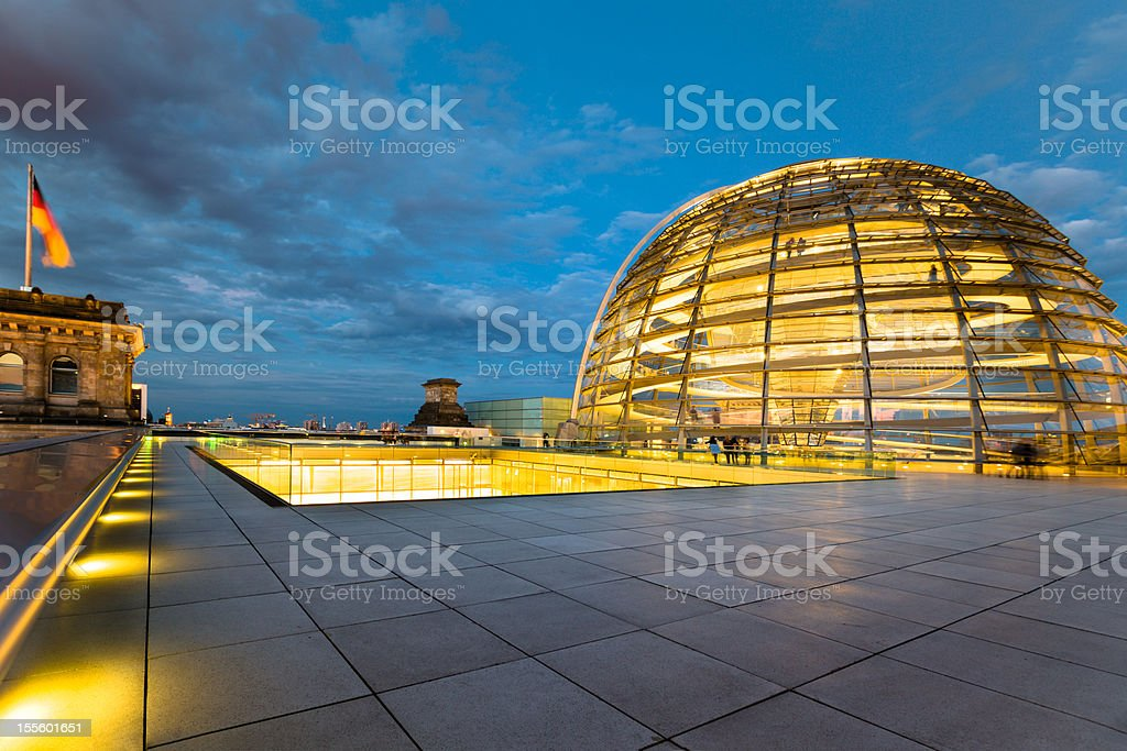 Berlin Reichstag Dome by Night stock photo