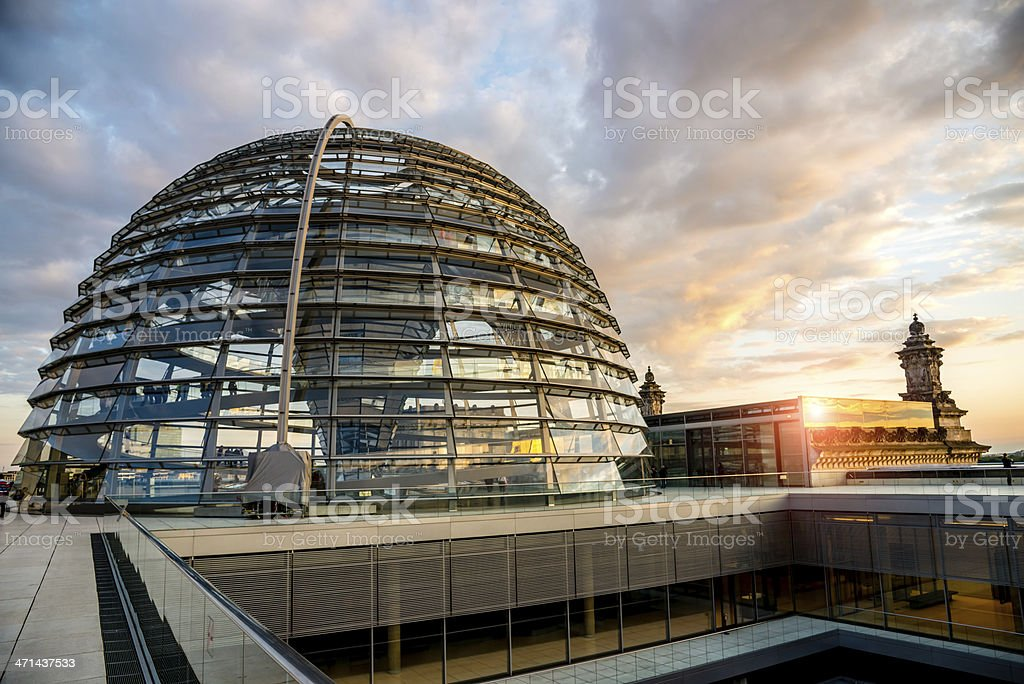 Berlin Reichstag Dome Sunset stock photo