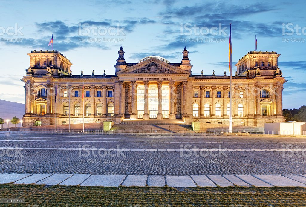 Berlin Reichstag. Image of illuminated Reichstag Building in Berlin, Germany. stock photo