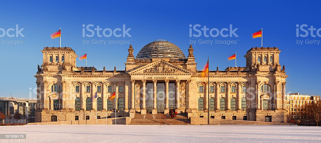 Berlin Reichstag Winter Panorama royalty-free stock photo