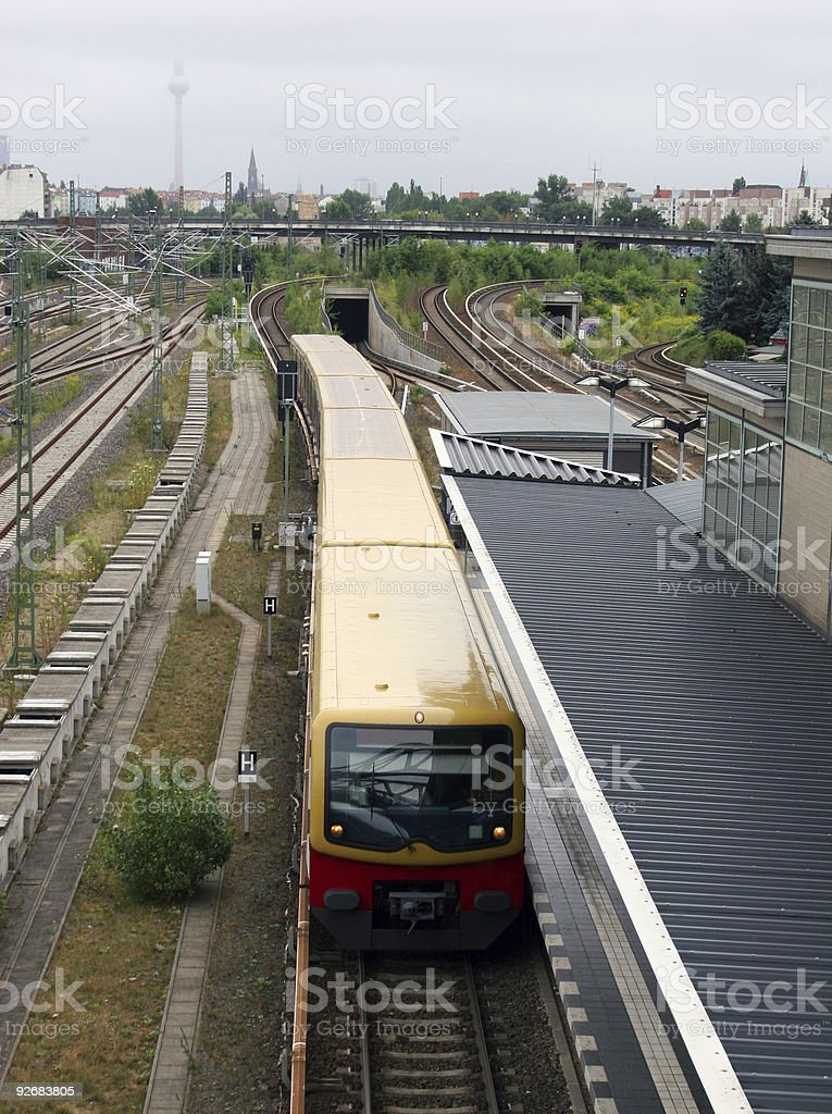 Berlin S-Bahn Station Bornholmer Straße und Fernsehturm Alexanderplatz stock photo