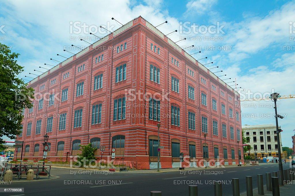 Berlin Schinkelplatz - fake facade of Bauakademie stock photo