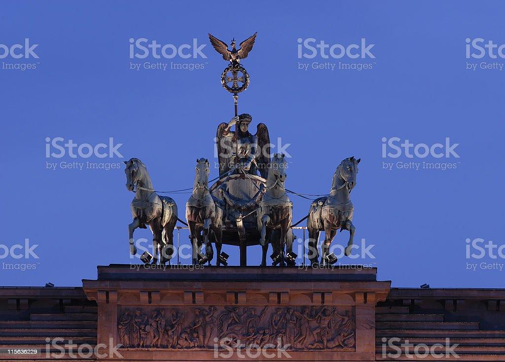Berlin series, Quadriga Statue from Brandenburg Gate stock photo