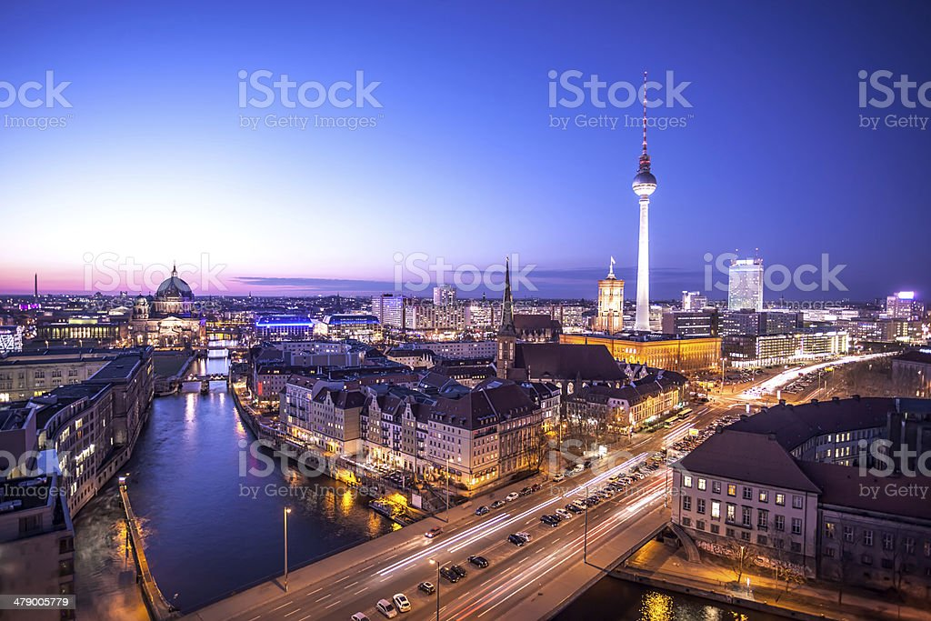 Berlin Skyline at Night stock photo