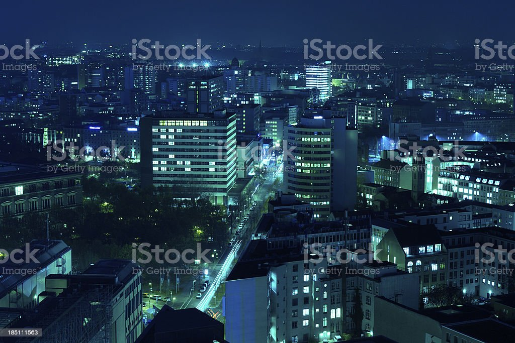 Berlin Skyline By Night, Aerial View royalty-free stock photo