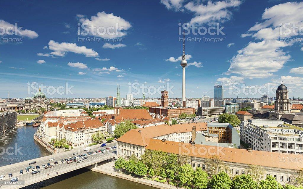 Berlin Skyline City, Capital of Germany in cloudy blue sky stock photo