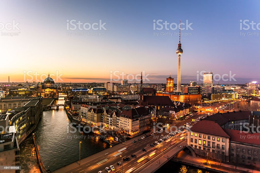 Berlin Skyline in the dusk stock photo
