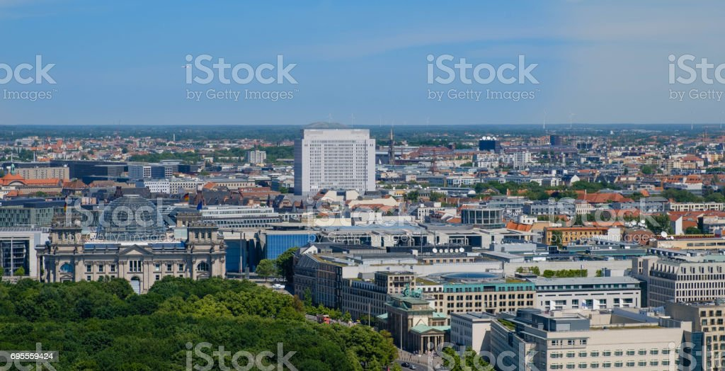 Berlin skyline over the Reichstag building, Brandenburger Tor ( Brandenburg Gate) Berlin stock photo