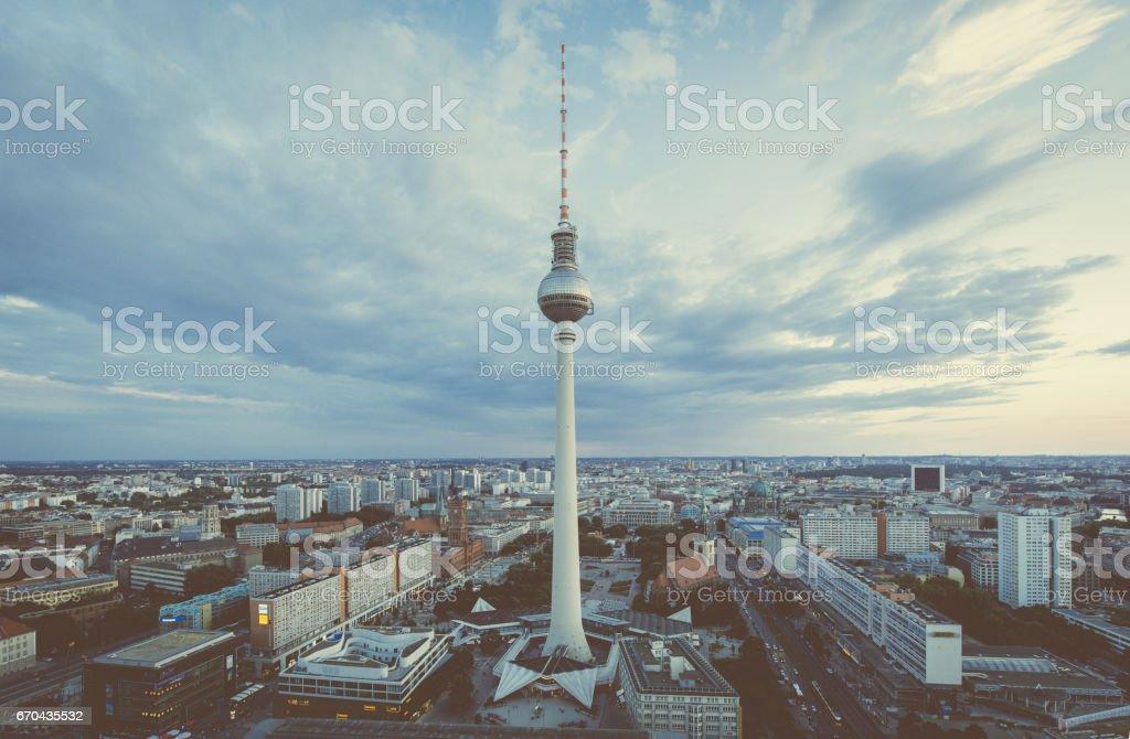 Berlin skyline panorama with TV tower at Alexanderplatz at night, Germany stock photo