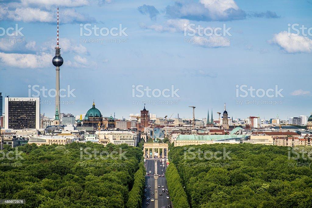 Berlin Skyline, Stra?e des 17. Juni (17th of June Street) stock photo