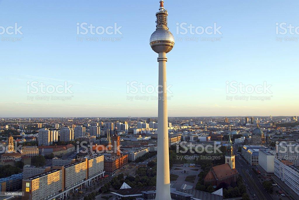 berlin skyline sunset stock photo