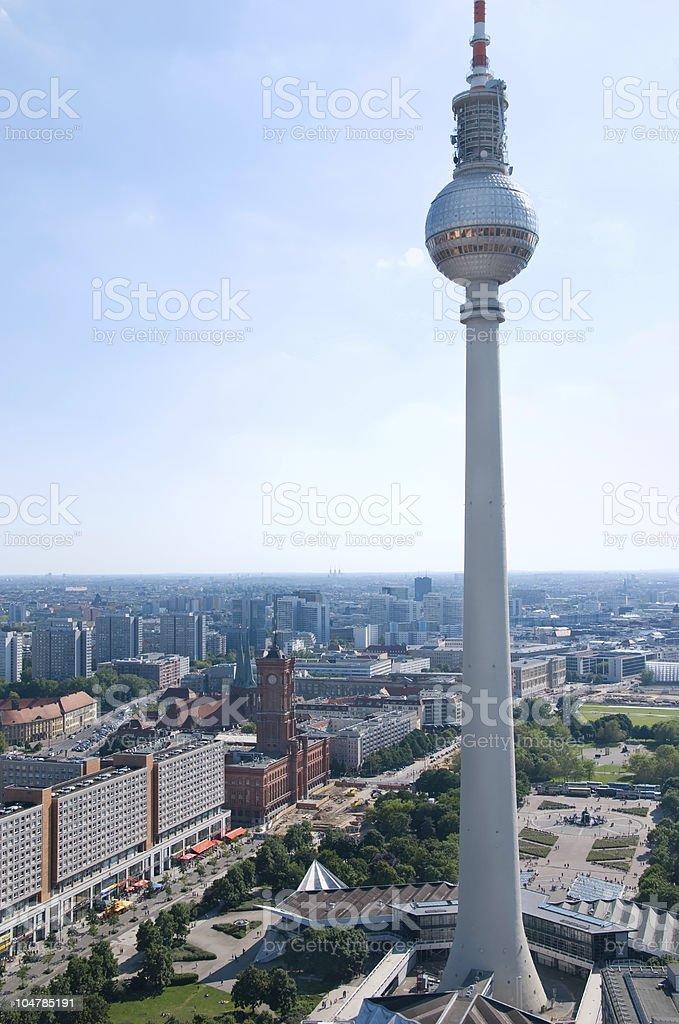 berlin skyline television tower stock photo