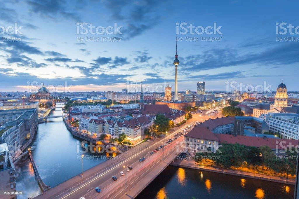 Berlin skyline with Spree river at night, Germany stock photo