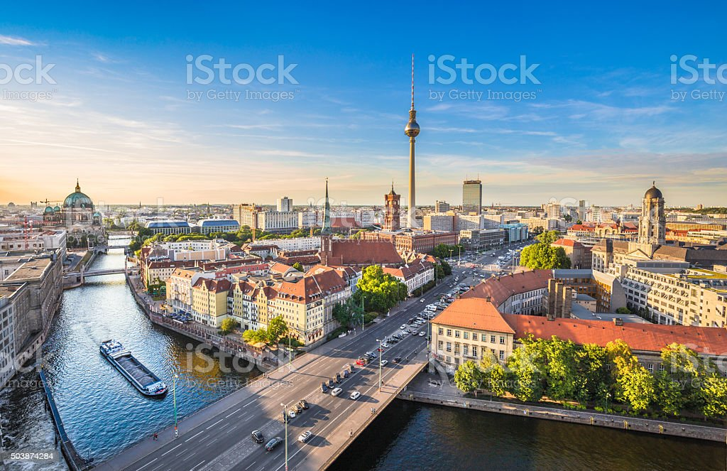 Aerial view of Berlin skyline with famous TV tower and Spree river in...