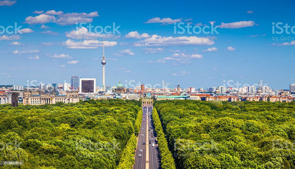 Berlin skyline with Tiergarten park in summer, Germany stock photo