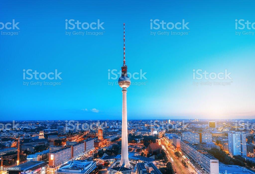 Berlin Skyline with TV tower at Alexanderplatz at dusk stock photo