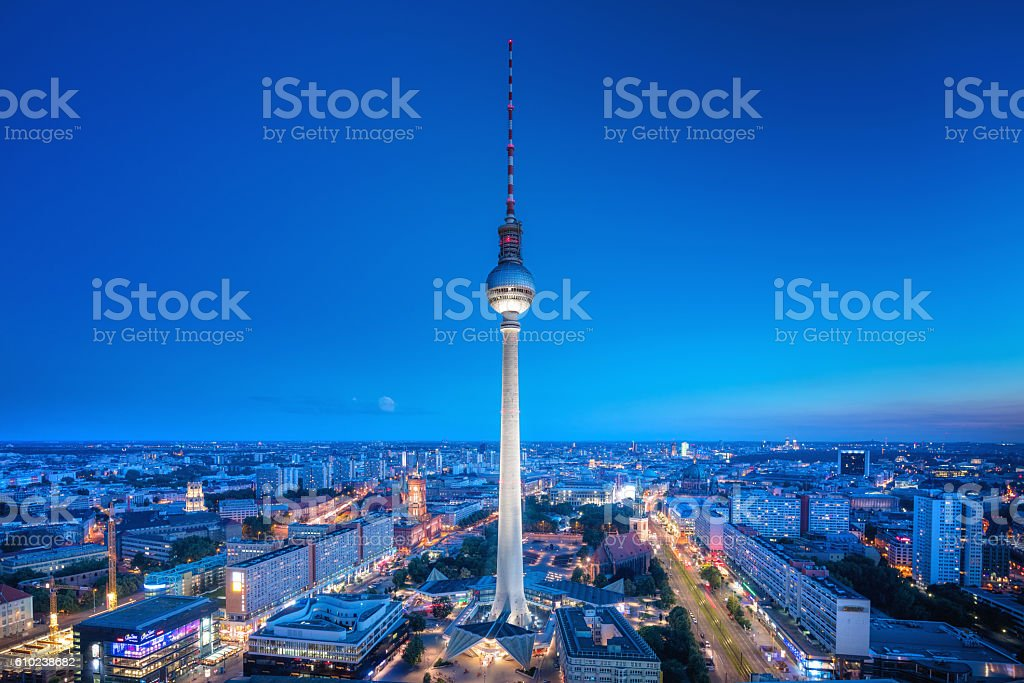 Berlin Skyline with TV tower at Alexanderplatz at dusk stock photo