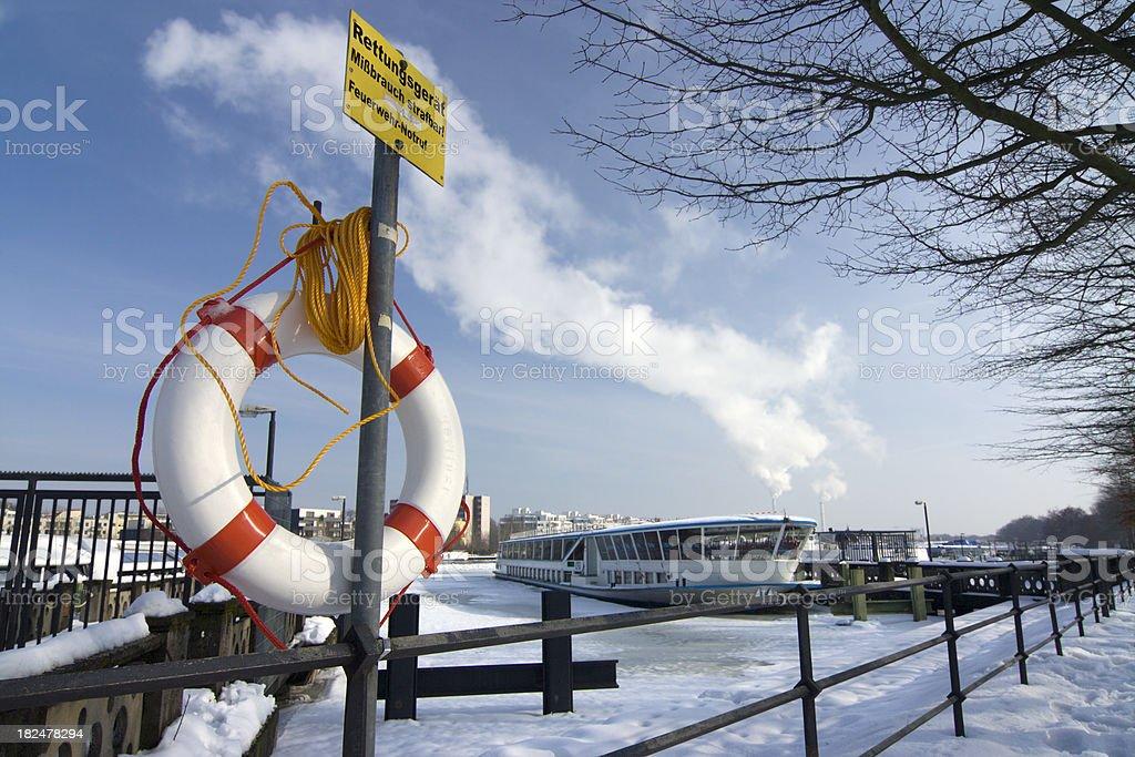 Berlin Spree in wintertime - Lifebuoy stock photo