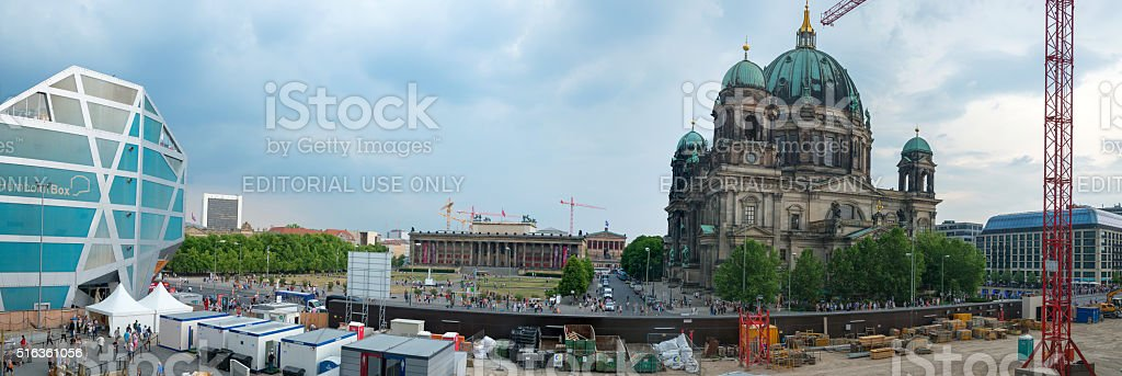 Berlin Stadtschloss building area - view to Berlin Cathedral stock photo