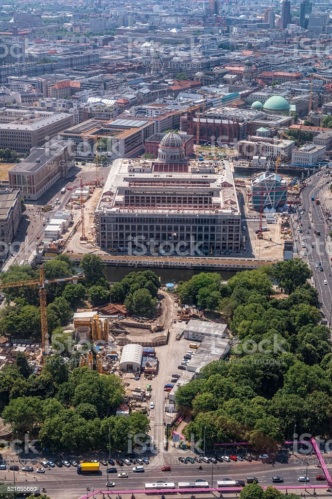 Berlin Stadtschloss building area with Humboldt Box and Cathedral stock photo