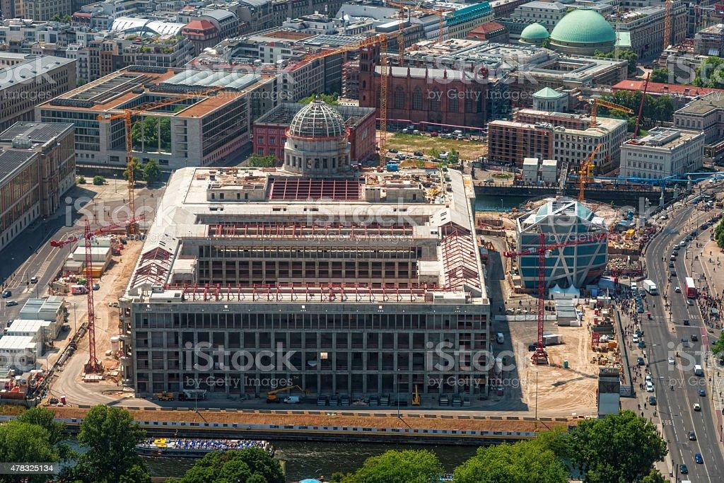 Berlin Stadtschloss building area with Humboldt Box stock photo