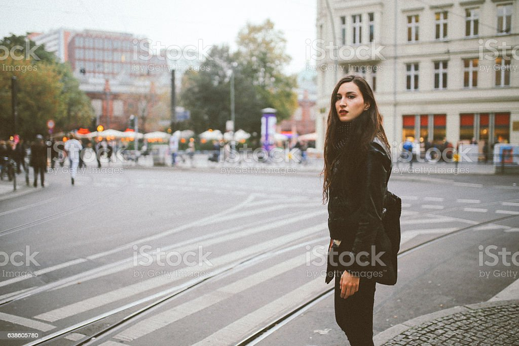 Berlin street style portrait stock photo