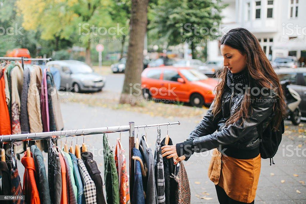 Berlin street style shopping stock photo