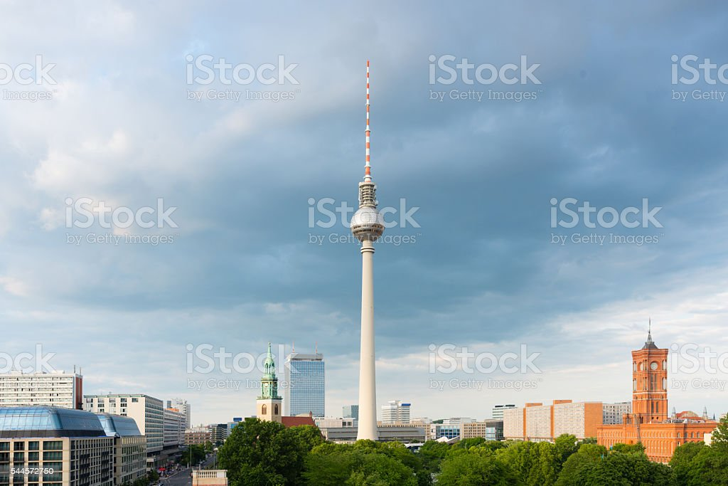 Berlin Television Tower and Rotes Rathaus Skyline Germany stock photo