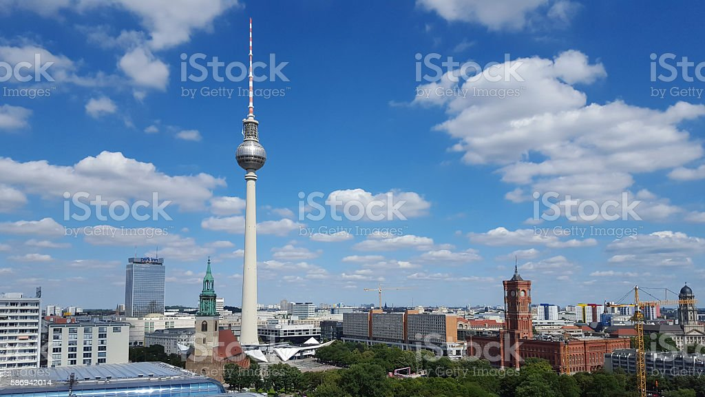 Berlin television tower and view to Berlin Mitte (Alexanderplatz) stock photo