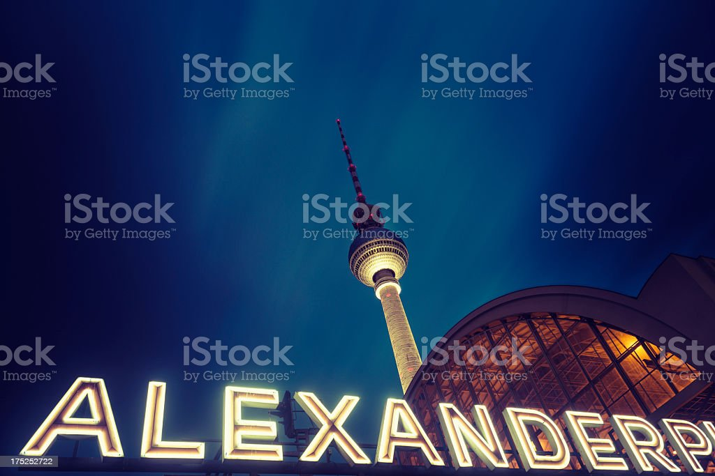Berlin television tower in Alexander Platz  - Germany royalty-free stock photo