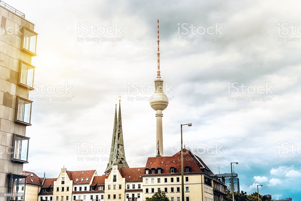 berlin television tower ovwe the roofs of Nikolaiviertel stock photo