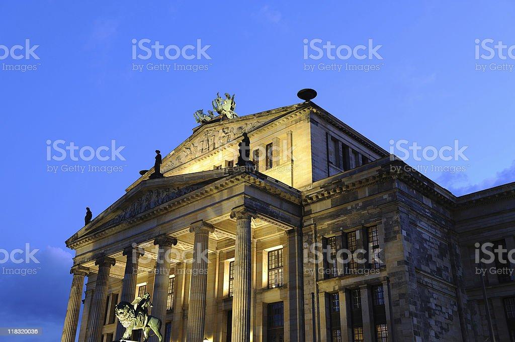 Berlin Theatre at Gendarme Market Twilight Bottom View stock photo
