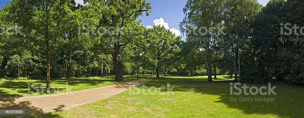 Berlin Tiergarten vibrant green foliage summer shade tranquil park Germany royalty-free stock photo