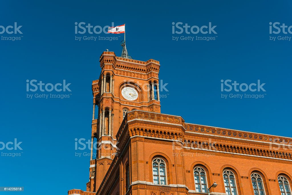 berlin townhall with flag on the roof stock photo