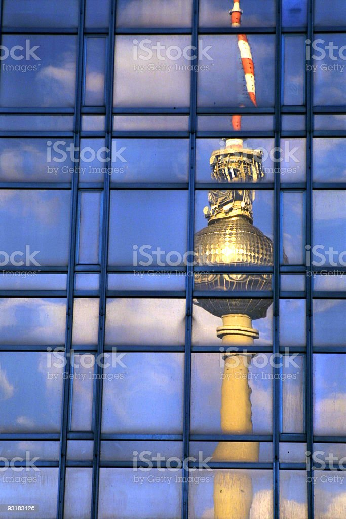 Berlin TV Tower in reflection of office building royalty-free stock photo