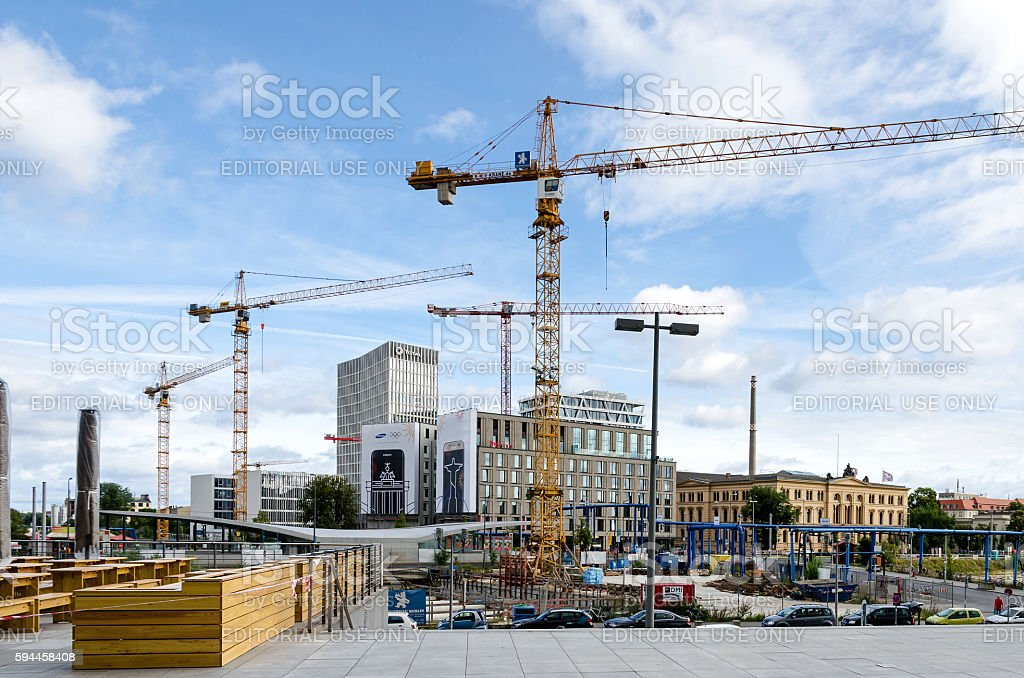 Berlin under construction with Hotel Ibis and Social Court stock photo