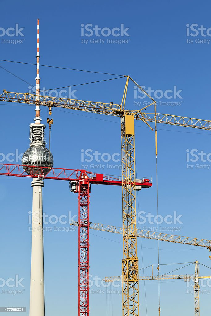 Berlin Under Construction With TV Tower royalty-free stock photo
