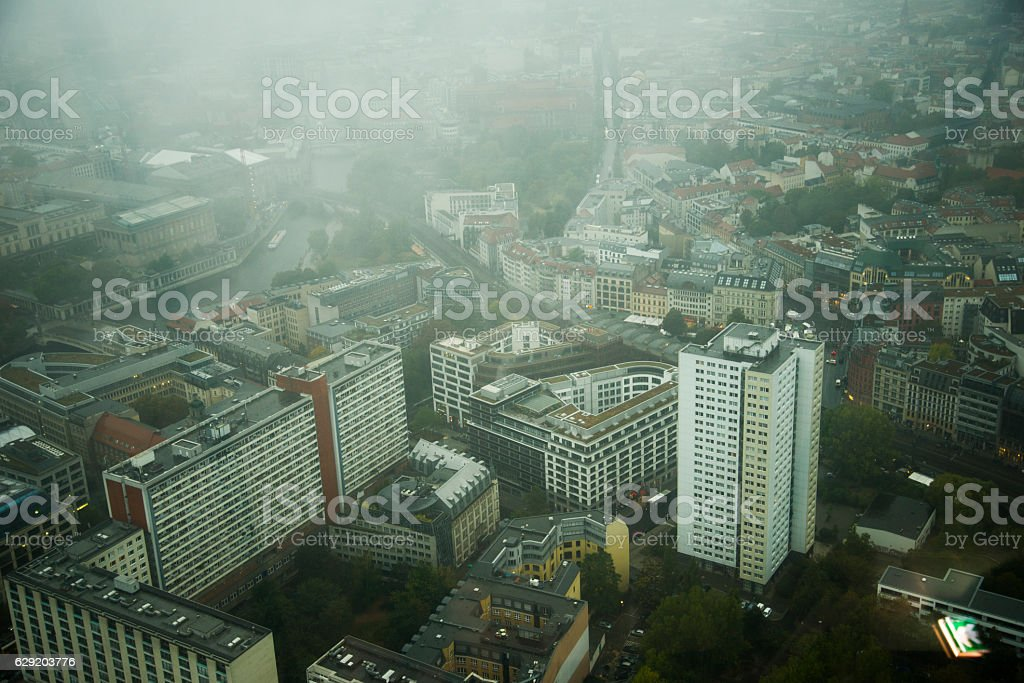 Berlin under the fog stock photo