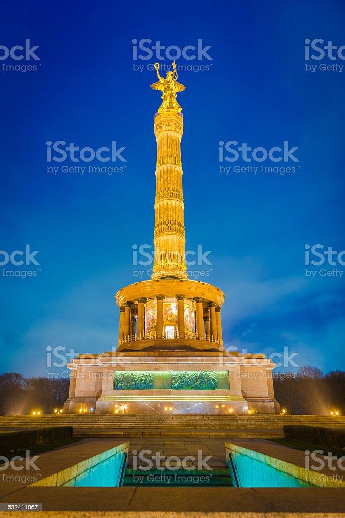 Berlin Victory Column at night stock photo
