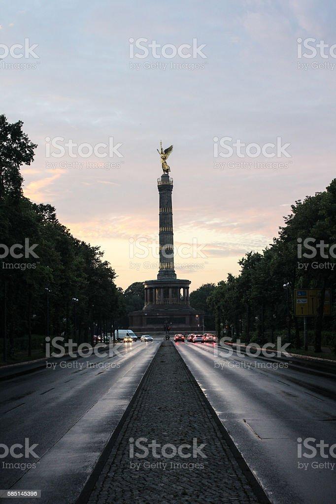 Berlin Victory Column, Siegessäule, at sunset stock photo