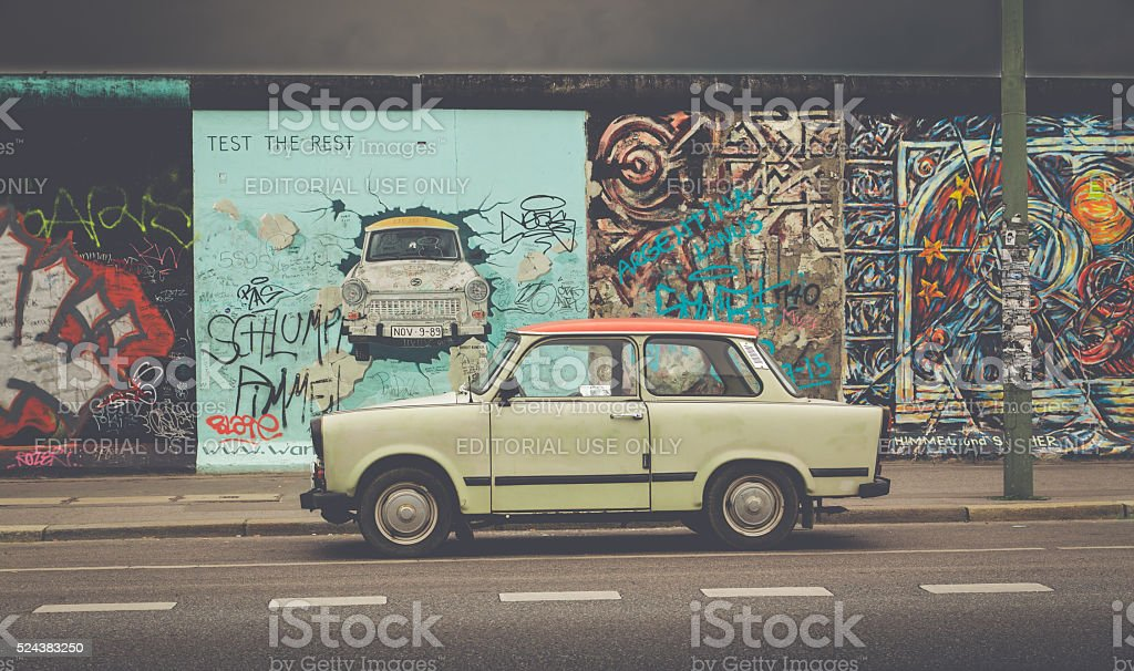 Berlin Wall at East Side Gallery with Trabant, Berlin, Germany stock photo