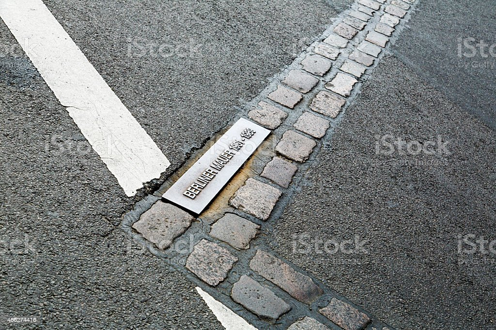 Berlin Wall - Bronze Plaque stock photo