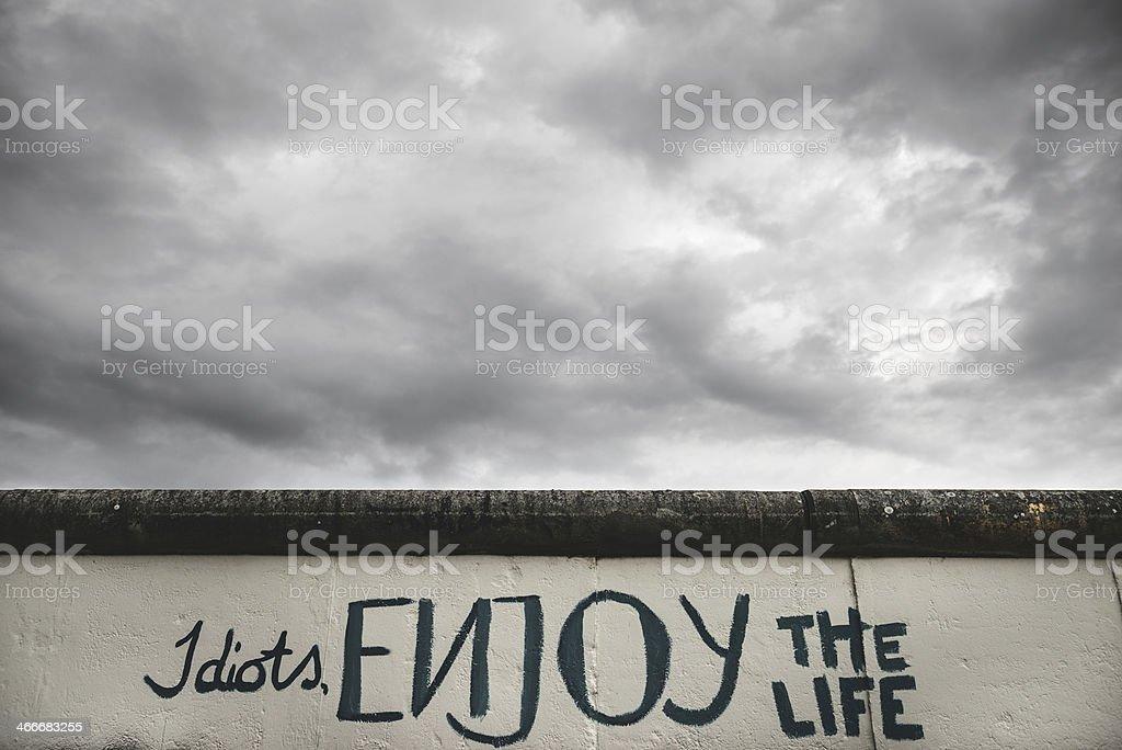 berlin wall graffiti stock photo