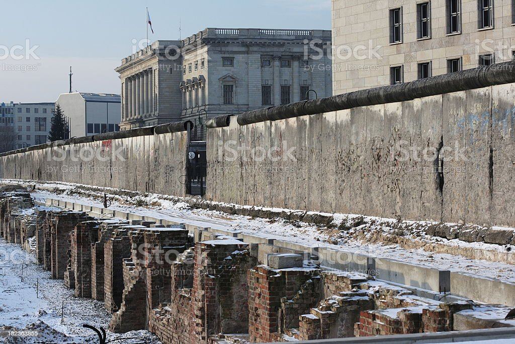Berlin Wall with unveiled destroyed building II stock photo