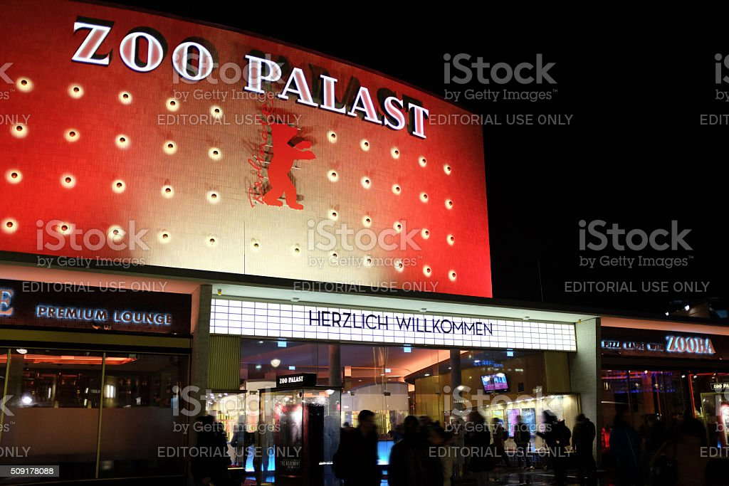 Berlinale 2016: people waiting outside Zoo Palast movie theatre stock photo