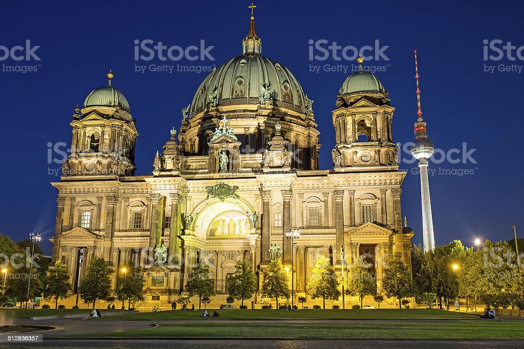 Berliner Dom and TV Tower at night stock photo